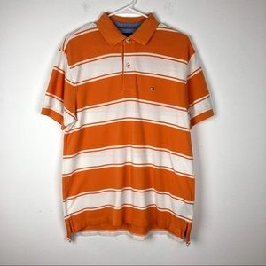 Tommy Hilfiger Orange White Striped Polo Shirt